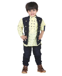 Kishore Dresses Shirt Waistcoat And Pant Set - Yellow and Blue