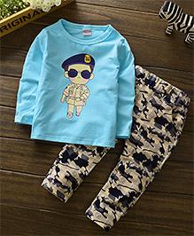 Pre Order - Petite Kids Boys Full Sleeve Military Style Pant Set - Blue