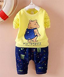 Pre Order - Petite Kids Teddy T-Shirt & Denim Pant Set - Yellow