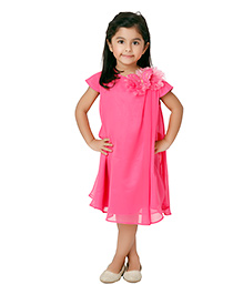 Kidology Butterfly Shoulder Dress - Fuschia