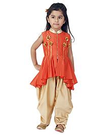 Kidology Mini Chakri Peplum Dhoti Set - Orange