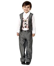 Kidology Stylish Waist Coat & Pant Set - Grey
