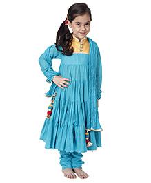 Kidology Mulmul Anarkali - Turquoise