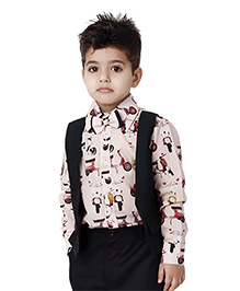 Kidology Scooter Print Shirt With Attached Waist Coat - Off White