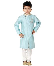 Kidology Anchor Sherwani Set - Mint Blue
