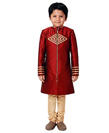 Kidology Stylish Zippered Sherwani Set - Maroon