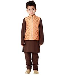 Kidology Jaal Vest With Kurta Pajama Set - Choclate Brown & Peach
