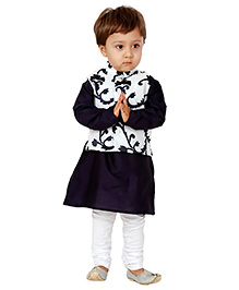 Kidology Dhoop Chawn Kurta With Vest Set - Navy