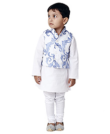 Kidology Dhoop Chawn Kurta With Vest Set - White & Blue