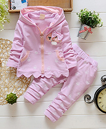 Pre Order - Lil Mantra Girls Stylish Hoodie Two-Piece Set - Light Purple