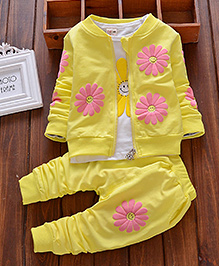 Pre Order - Lil Mantra Floral Sweat Shirt Three Piece Set - Yellow