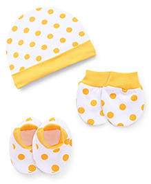 Babyhug Cap Mittens And Booties Set Polka Dots Print - Yellow White