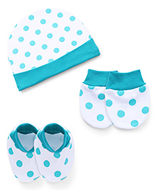 Babyhug Cap Mittens And Booties Set Polka Dots Print - Green White