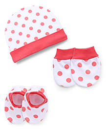 Babyhug Cap Mittens And Booties Set Polka Dots Print - Peach White
