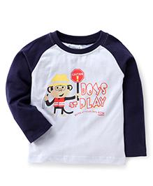 Babyhug Full Sleeves T-Shirt Boys Play Print - Blue White