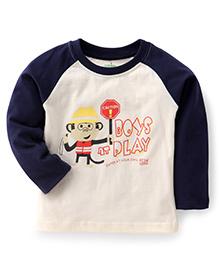 Babyhug Full Sleeves T-Shirt Boys Play Print - Blue Cream