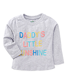 Babyhug Full Sleeves Top Daddy's Little Sunshine Print - Grey