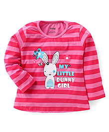 Babyhug Full Sleeves Striped Top With Little Bunny Print - Pink
