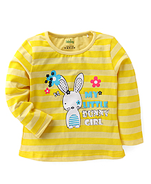 Babyhug Full Sleeves Striped Top With Little Bunny Print - Yellow