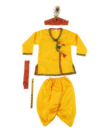 Kishore Dresses Full Sleeves Krishna Kurta Dhoti Set With Accessories - Yellow