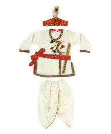 Kishore Dresses Full Sleeves Krishna Kurta Dhoti Set With Accessories - White