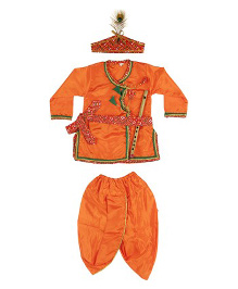 Kishore Dresses Full Sleeves Krishna Kurta Dhoti Set With Accessories - Orange
