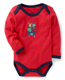 Tango Full Sleeves All Aboard Print Onesie - Red Navy