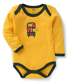 Tango Full Sleeves All Aboard Print Onesie - Yellow Green
