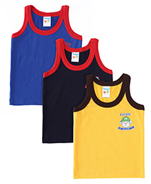 Tango Sleeveless Contrast Neckline Vest Pack Of 3 - Navy Royal Blue Yellow