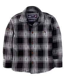 Jash Kids Full Sleeves Shirt Checks Print - Black Grey