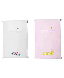Baby Rap Crib Sheet With Pillow Cover Birds & Ducks Embroidery - Pink And White