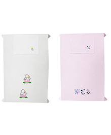 Baby Rap Crib Sheet With Pillow Cover Cows & Ducks Embroidery - Pink And White