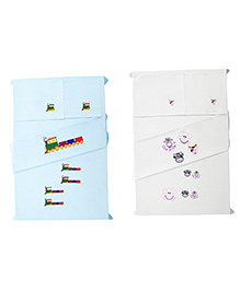 Baby Rap Crib Sheet With Pillow Cover Cows & Trains Embroidery - White And Blue