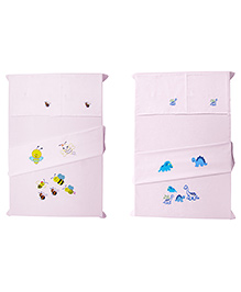 Baby Rap Crib Sheet With Pillow Cover Dino's & Bees Embroidery - Pink