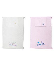 Baby Rap Crib Sheet With Pillow Cover Dino's & Ducks Embroidery - Pink And White
