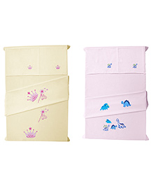 Baby Rap Crib Sheet With Pillow Cover Aeroplane And Princes Theme Embroidery - Yellow And Pink