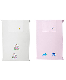 Baby Rap Crib Sheet With Pillow Cover Ducks & Dino's Embroidery - Pink And White