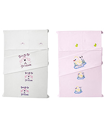 Baby Rap Crib Sheet With Pillow Cover Ducks & Princess 3 Embroidery - Pink And White