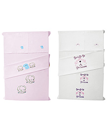 Baby Rap Crib Sheet With Pillow Cover Elephants And Princess 4 Theme Embroidery - Pink And White