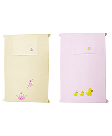 Baby Rap Crib Sheet With Pillow Cover Princess & Duck Embroidery - Pink And Yellow