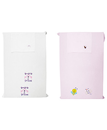 Baby Rap Crib Sheet With Pillow Cover Princess & Snail Embroidery - Pink And White