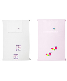 Baby Rap Crib Sheet With Pillow Cover Snail & Princess Theme Embroidery - Pink And White
