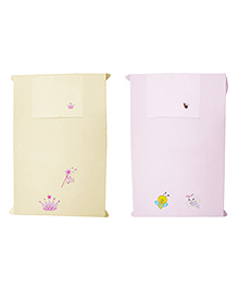 Baby Rap Crib Sheet With Pillow Cover Snails And Princess Theme Embroidery - Pink And Yellow