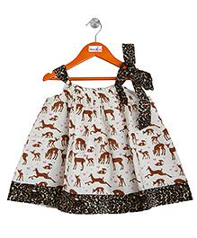Mom's Girl Animal Printed Aline Dress - Multicolour