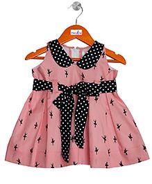 Mom's Girl Dance Printed Dress With Peterpan Collar - Pink & Black