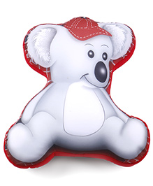 Baby Soft Bear Shaped Pillow - White And Red