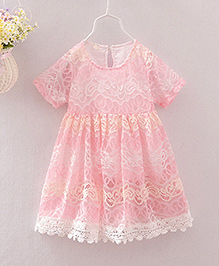 Pre Order - Tulip Floral Lace Party Dress - Pink