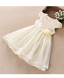 Pre Order - Tulip Embroidered Pearl Work Party Dress - Yellow