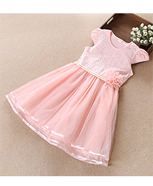 Pre Order - Tulip Embroidered Pearl Work Party Dress - Pink