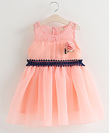Pre Order - Tulip Lace Work With Side Flower Dress - Pink